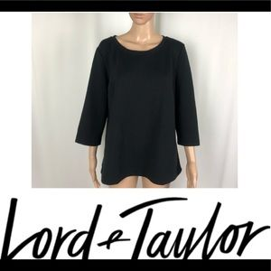 Lord & Taylor Black 3/4 Sleeve Scoop Neck Blouse